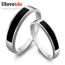 15% Off Buy to Get a Gift Min 1 Pcs Black 0.3cm Brincos Silver Couple Rings for Women Men Engagement Ring Bijoux Gifts Sale J053(China)