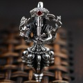 Thai Silver 925 Sterling Silver Jewelry Antique Style Elephant God Lucky Amulet Pendant Inlay Natural Garnet Stone