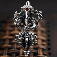 Thai Zilver 925 Sterling Zilveren Sieraden Antieke Stijl Olifant God Lucky Amulet Hanger Inlay Natuurlijke Granaat Steen
