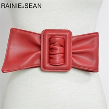 RAINIE SEAN Women Wide Belts For Dresses Leather Big Bow red Cummerbund Ladies Fashion 2019 Brand Solid Female Wide Waist Belt