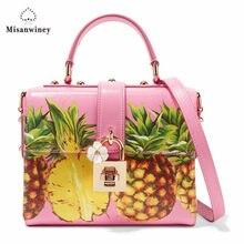 87ed4c6730 Misanwiney Cute Pineapple Bag Fruit Design Women Messenger Bags Leather  Crossbody Bag Girls Funny winter Mini Flap Bag