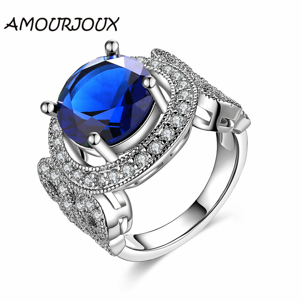 amourjoux elegant large round cz party rings for women with clear white zircon female wedding bands ring size 678 5 colors