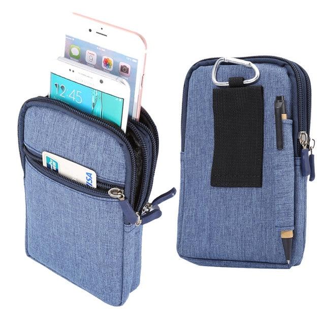 "4 Colors Pen Slot Design 3 Zippers Carabiner Pockets Bag For Multi Phone Model Hook Loop Belt Pouch For Smart Phone 6.3"" Below"