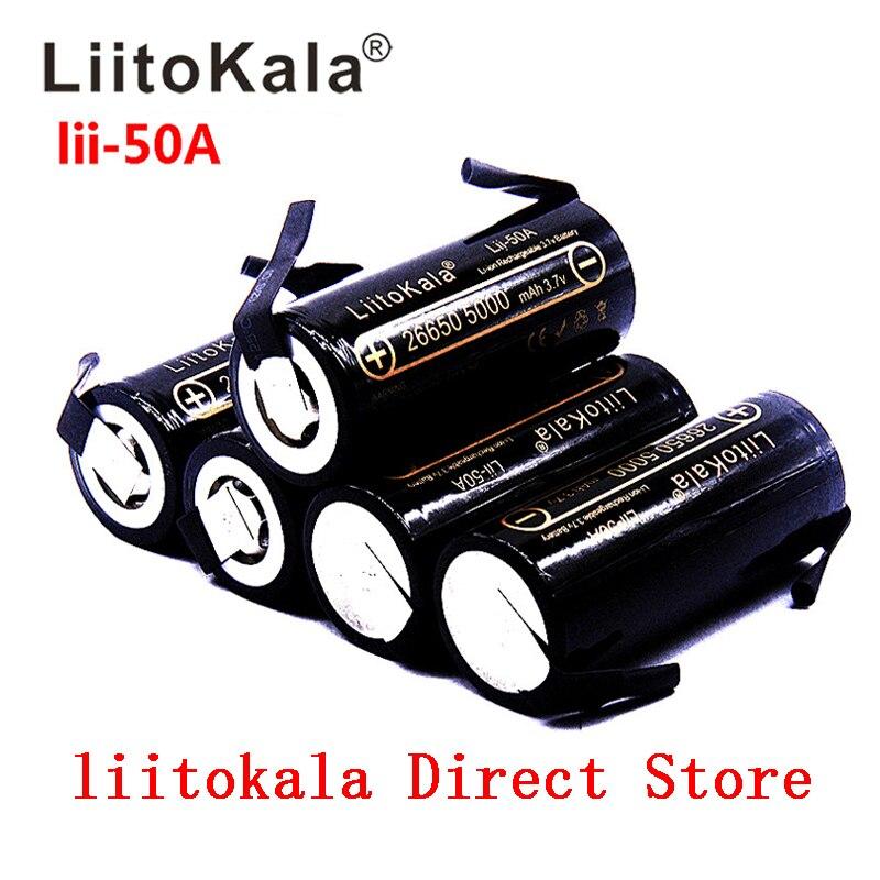 HK LiitoKala Lii-50A 3.7V 26650 5000mah High Capacity 26650-50A Li-ion Rechargeable Battery For Led Flashlight+ DIY Nickel