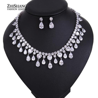 Princess Luxury Design Dazzling Yellow Blue Drop Pear Shape Red CZ Cubic Zirconia Bridal Jewelry Sets Jewellery WS030
