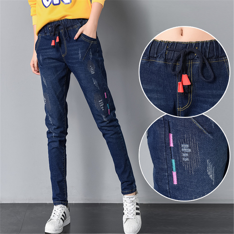 Embroidery Heram Pants Jeans For Women Elastic Mid Waist Ripped Casual Denim Pencil Pants Slim Female Trousers Stretch Jeans
