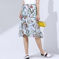 100% Silk Skirt Women Asymmetrical Slits Printed Sashes Beach Skirts High Quality Fabric Casual Style 2019 New Fashion