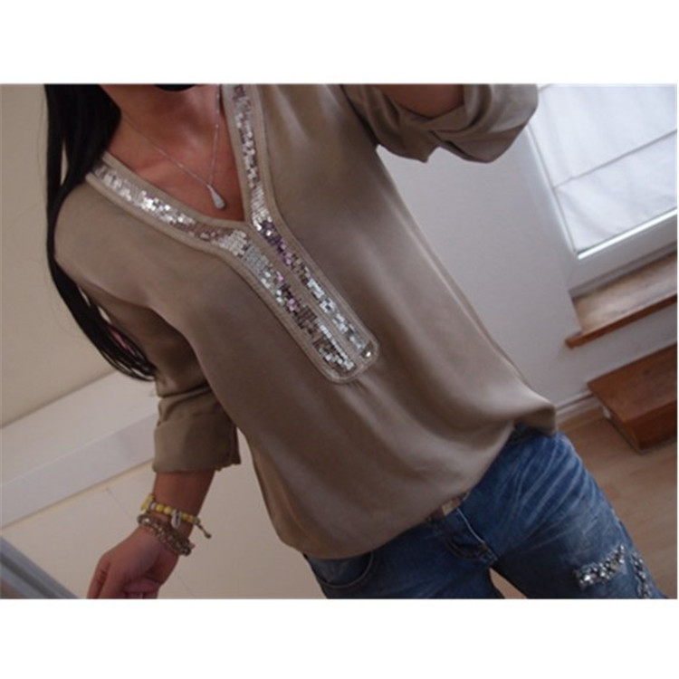 Sequins Shirt Women 2018 Autumn Long Sleeve V-neck Plus Size Casual Blouse Women Shirts Tops Patchwork Streetwear S-5XL WS9722M