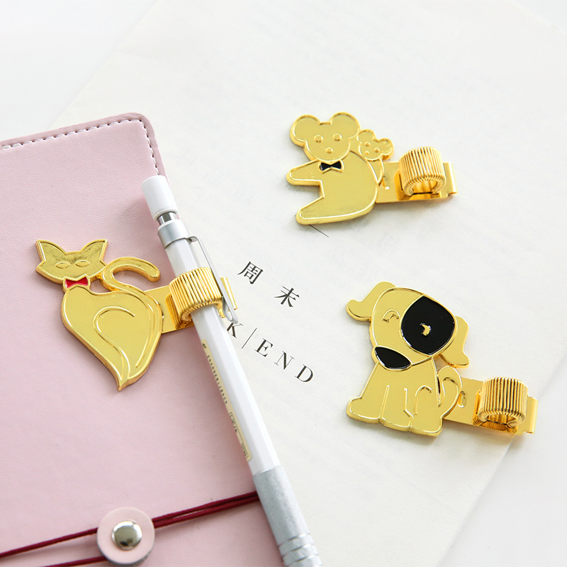 Korean Gold Metal Pen Holder Kawaii Pen Clip Creative Small Animal Pen Holder Planner Notebook Accessories For Dokibook Midori