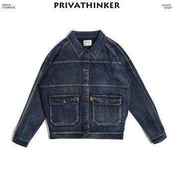 мужские старинные куртки   Privathinker Мужская винтажная негабаритная джинсовая куртка 2019 мужская уличная куртка пальто Мужская модная Осенняя джинсовая ветровка куртка