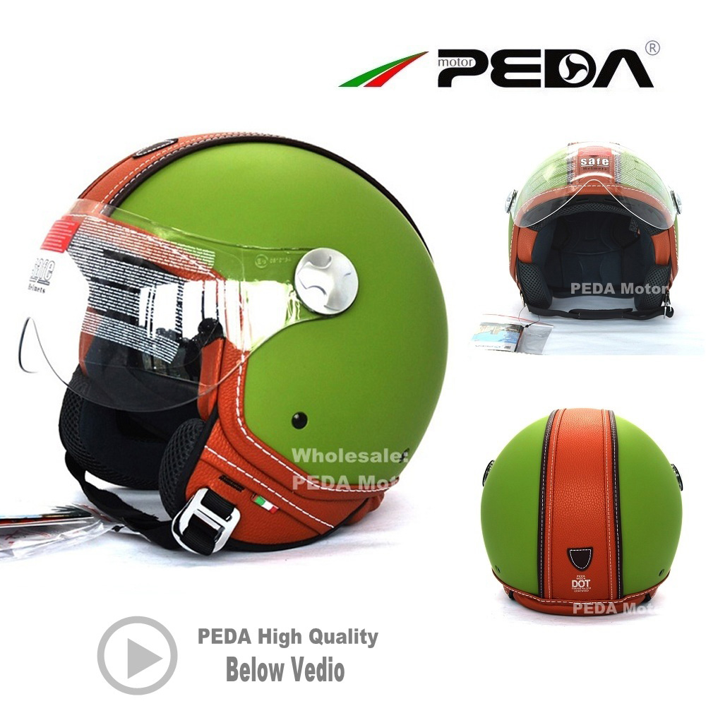 0990bb28 2019 PEDA Italian ECE DOT Motorcycle Helmet Vintage Unisex Open Face 3/4  Cascos Jet helm Leather electric Scooter cascque Retro