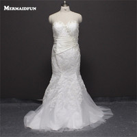 2018 Real Photos Mermaid Plus Size Sweetheart Beaded Lace Up back White Ivory Wedding Dresses Large Size Bridal Gown