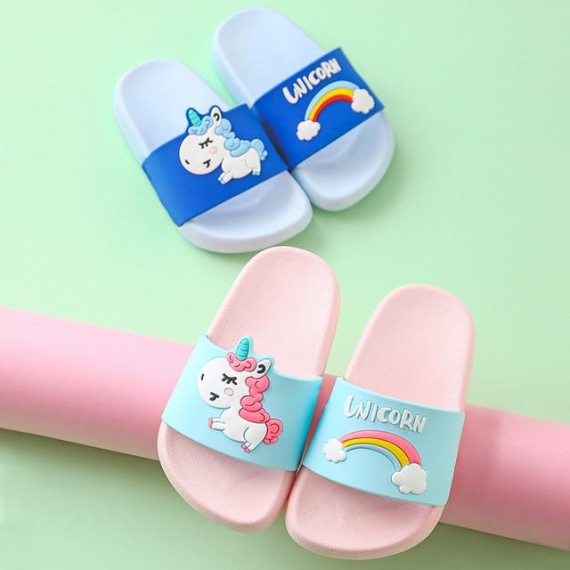 Children Slippers for Boys Girls Summer Indoor Kids and Mother Slippers Anti-skid Lovely Cartoon Soft Bathroom Household Shoe