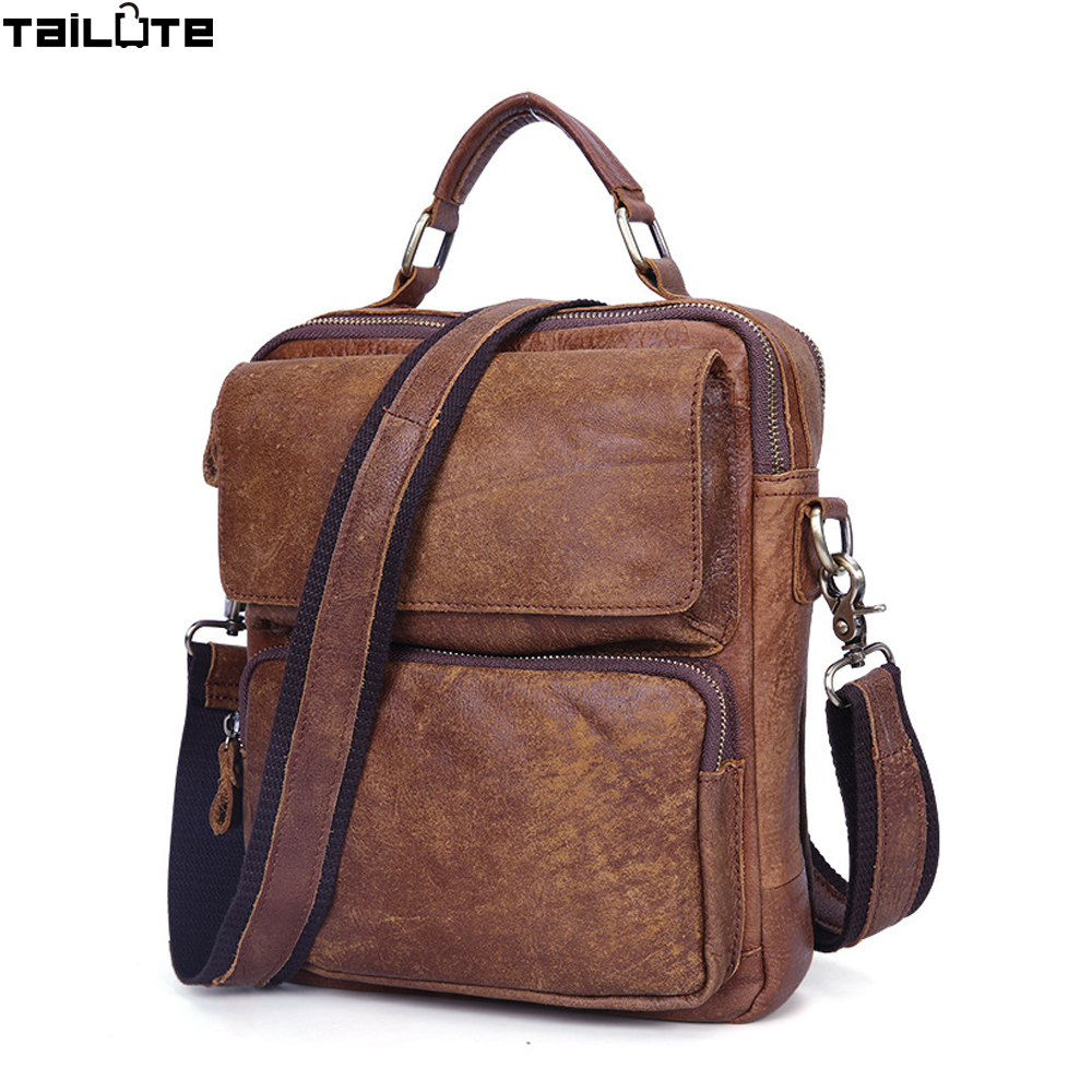 TAILUTE Genuine Leather Men Bags Hot Sale Male Messenger Bag Man Fashion Crossbody Shoulder Bag Men's Travel Bags New handbag men and women bag genuine leather man crossbody shoulder handbag men business bags male messenger leather satchel for boys