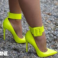 Kaeve Summer Pointed Stiletto Fashion Sexy Big Buckle Yellow High Heels Rubber Shoes Italian Bag Set