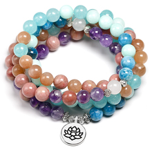 Natural Stone 108 Mala 8mm beads Multi layer Buddha Strand Bracelet Yoga Blue apatite Bracelet For Women Summer Sunstone Jewelry