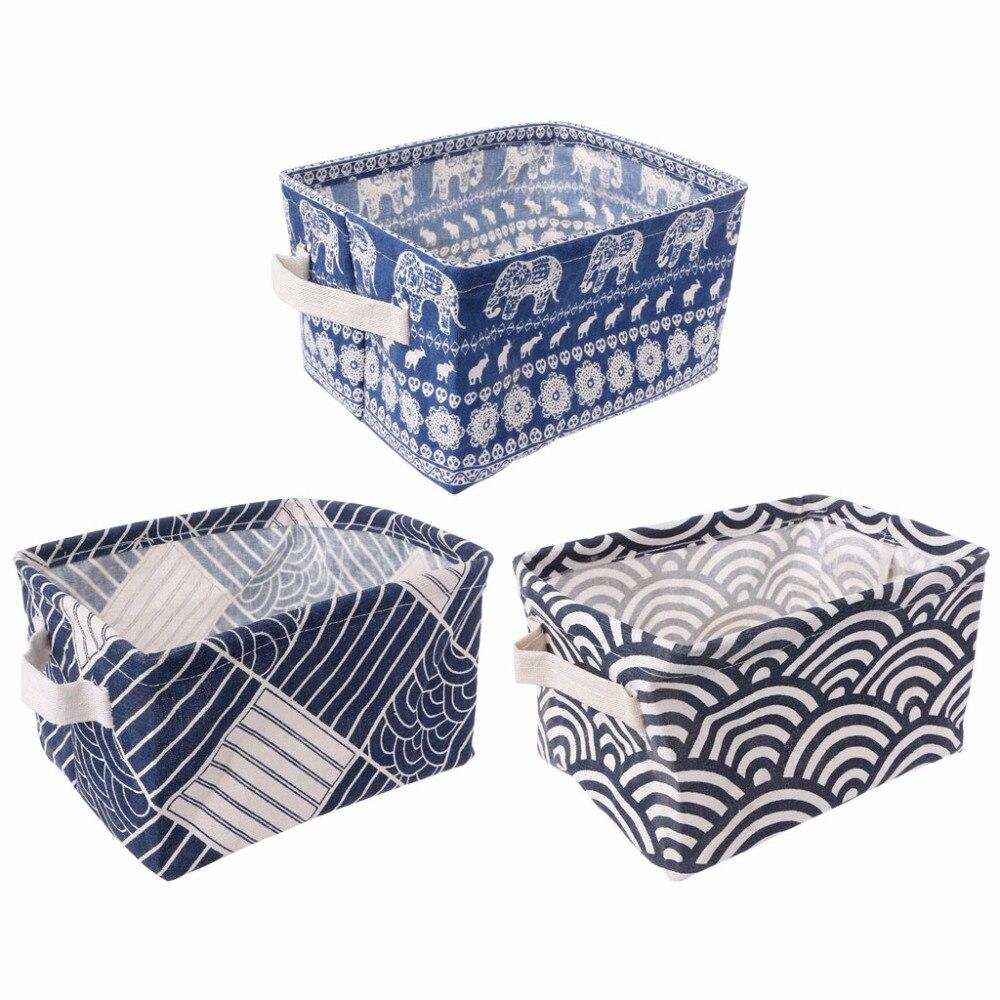 Lovely Printing Flax Desktop Makeup Organizer Underwear Socks Storage Laundry Bag Basket Box Home Storage Basket