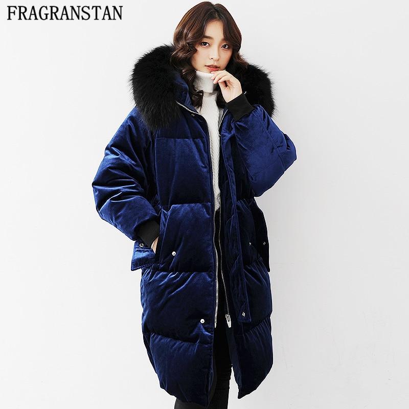 2018 Frauen Winter Warm Große Pelz Kragen Velours Weiße Ente Unten Jacke Casual Vestidos Mit Kapuze Parka Damen Hohe Qualität Mantel Y238