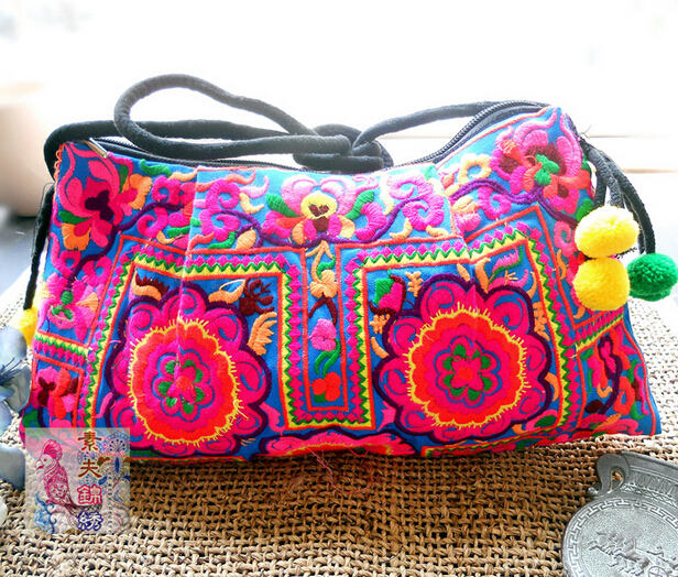 National Trend Handmade Fabric Embroidery Embroidered Bags Shoulder Messenger Bag Day Clutch Handbag Christmas gift national trend women handmade faced flower embroidered canvas embroidery ethnic bags handbag wml99