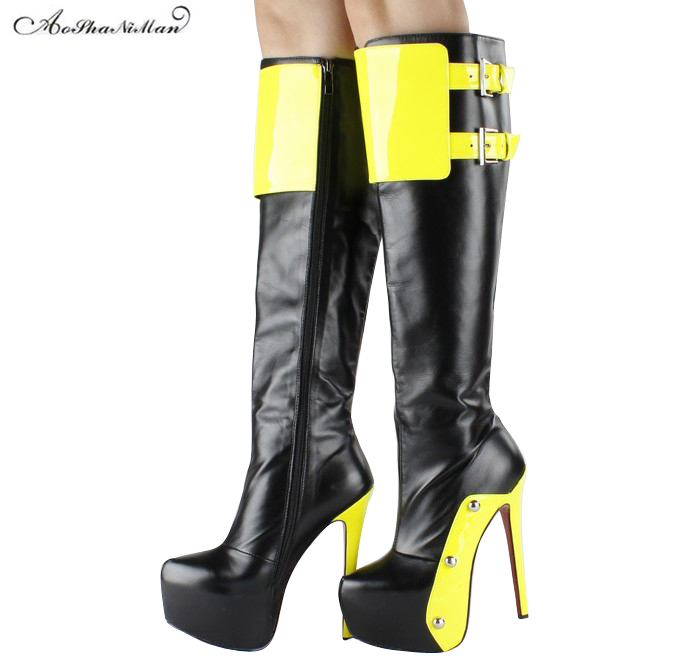 Newest women 's  Knight boots genuine leather thin heels platform boots ladies thin heel pointed toe high heels knee long boots mike davis knight s microsoft business intelligence 24 hour trainer