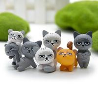 2017 New Arrival 6pcs/set 3-4cm Lovely Unhappy Cats Action Figure Toy Children Toy Baby Room Decoration Kids Gifts