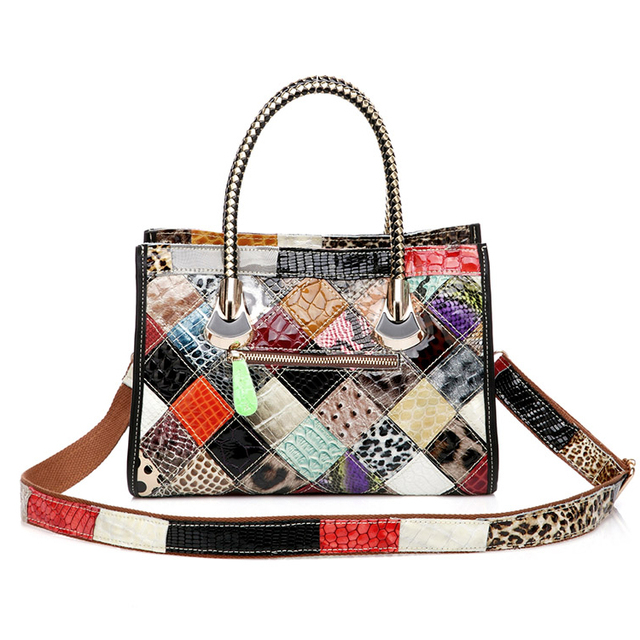 Colourful Leather Patchwork Messenger Bag For Women
