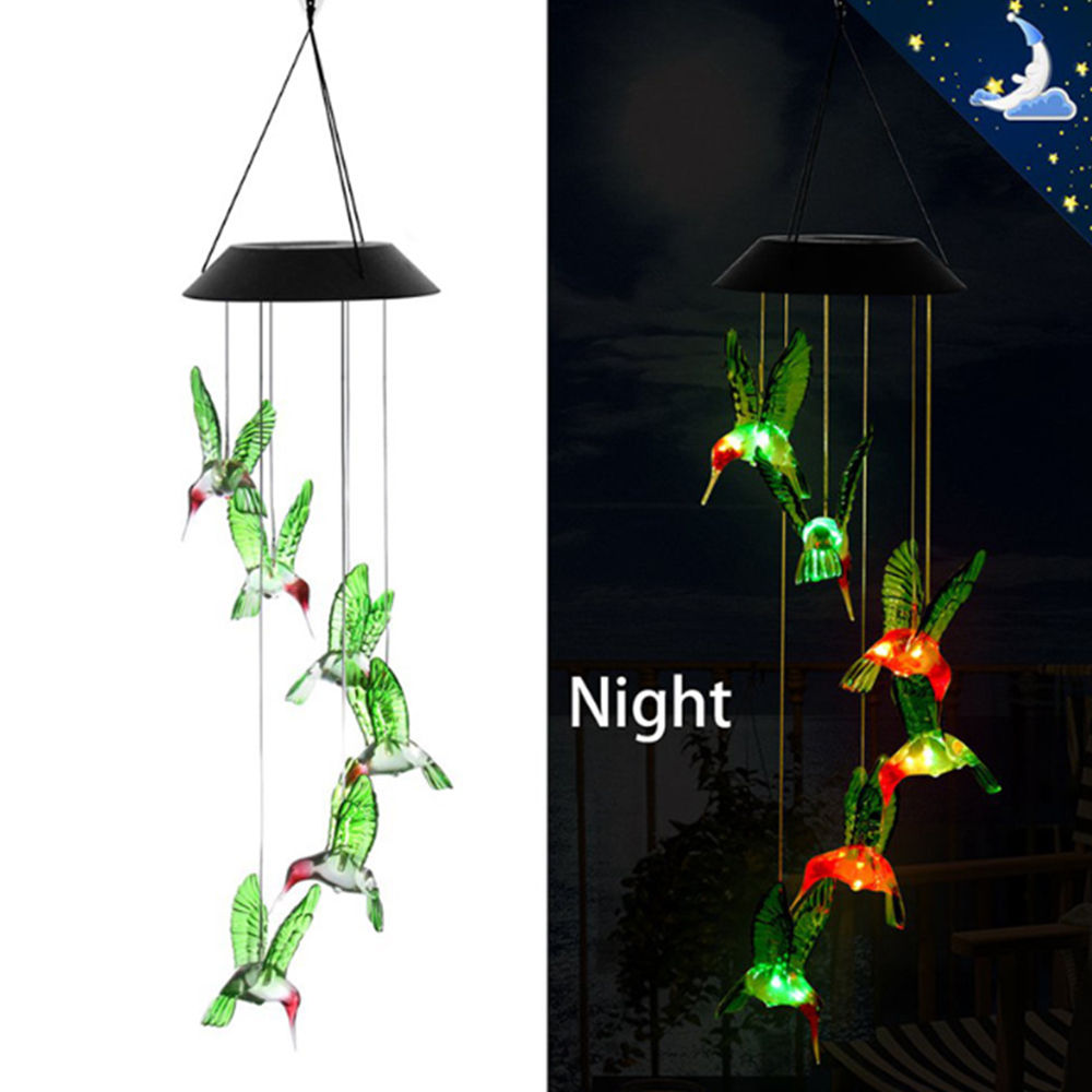 Outdoor Solar Lamps Solar Wind Chime Light Solar Lamp Hummingbird LED Solar Light Christmas Party Garden Lights