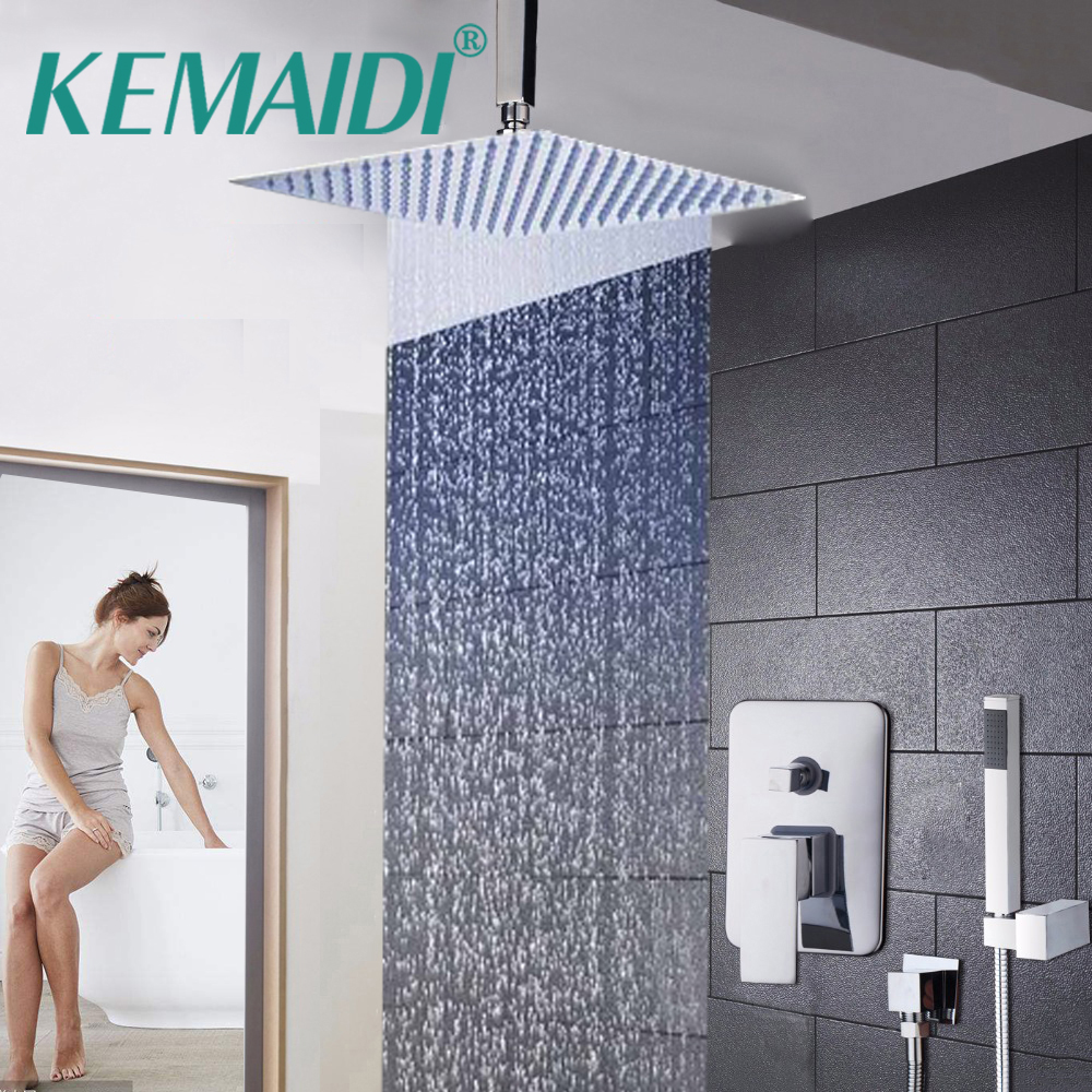 KEMAIDI Bathroom LED Ceiling Wall Mount Rainfall 8 10 12 16 Inch Shower Head Set With Control Valve Hand Sprayer Chrome Polished цена