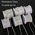NiceBeads 10yard/roll Rhinestone Chain Copper claw with Transparent/white AB Glass Rhinestone SIlver Plated DIY