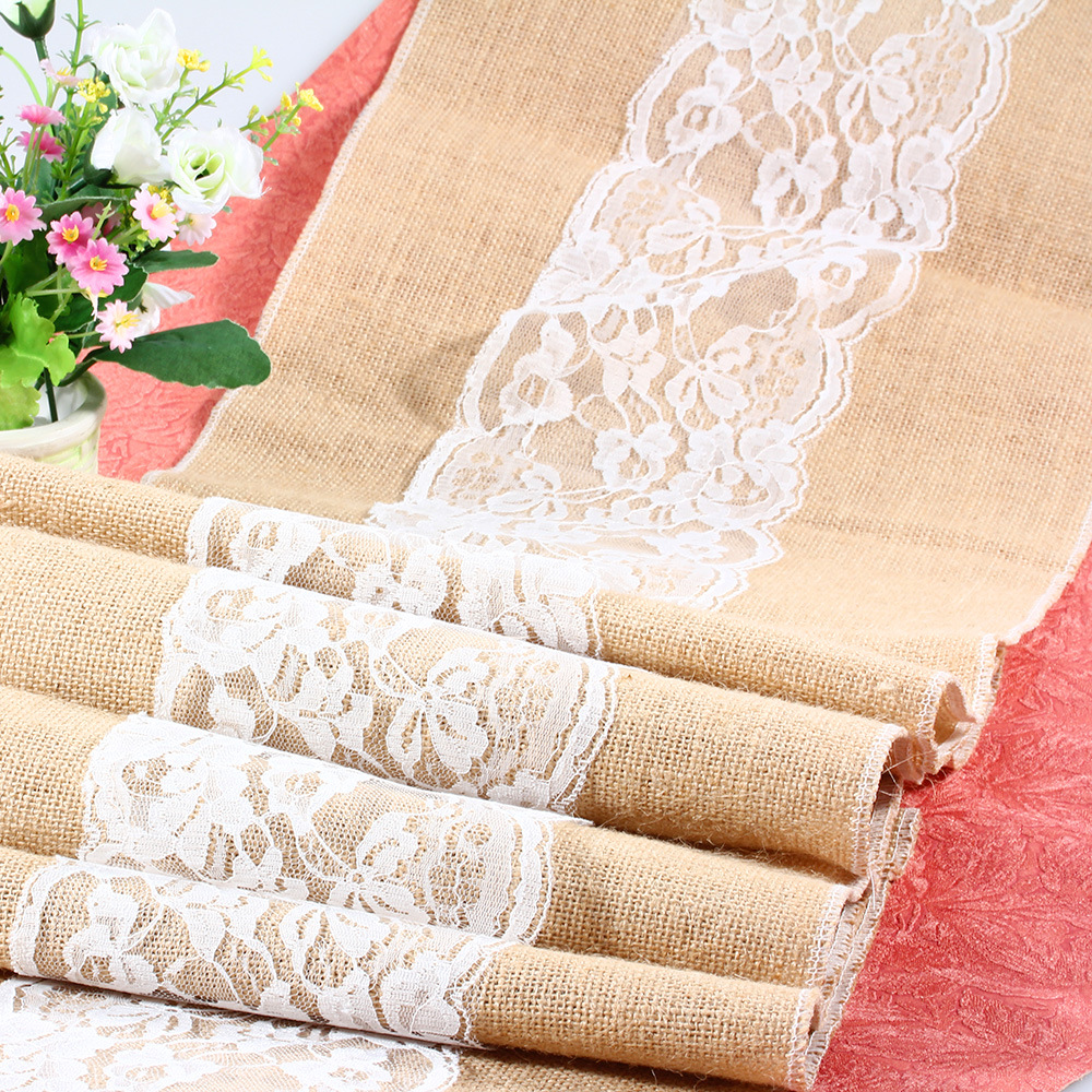 30*275cm Luxury Burlap And Lace Table Runner Wedding Embroidered Elegant  Table Runners For Wedding Decoration 5 Styles Available