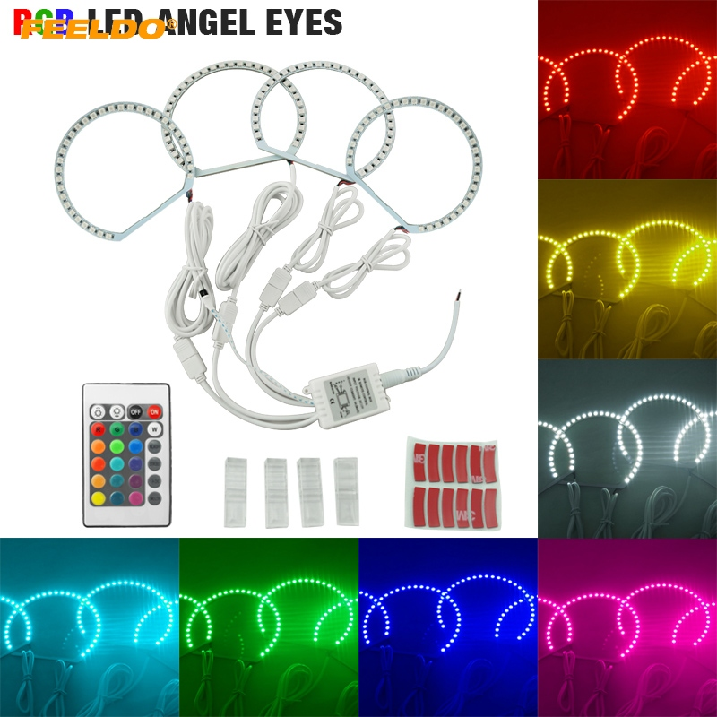 FEELDO 4X131mm Car RGB Multi-Color LED Angel Eyes Halo Ring Light Kit Wireless Remote Control For Lada VAZ <font><b>2106</b></font> #HQ1104 image