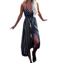 Moda mujer 2018 Bohemian style Women Summer Maxi Stripe Dress Sexy Ladies Evening Party Beach Dress Sundress vestidos de festa