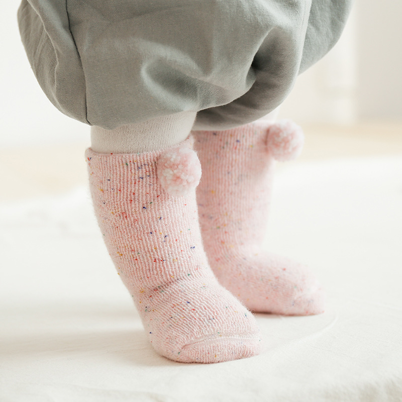 PPXX Winter Thick Children Baby Fur Ball Socks Infant Girl Boy Cotton Soft Warm Newborn Baby Socks Gift