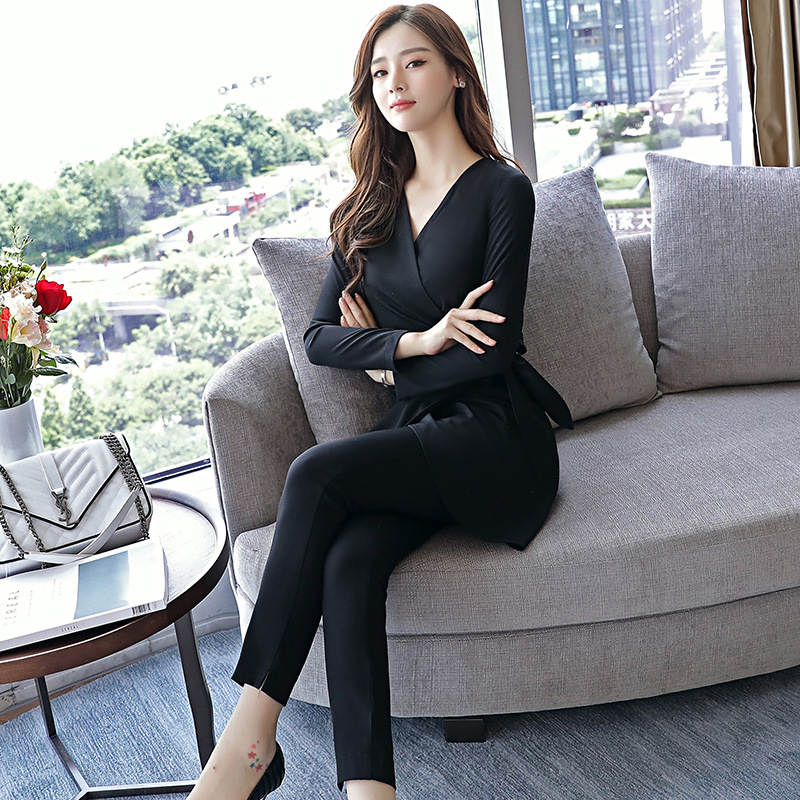 Longues Coréenne Jeunesse V 4 Solide À Populaire cou pièce Tempérament 3 Mince Printemps 2 1 Pantalon Deux Couleur Manches ECtwzavWnq