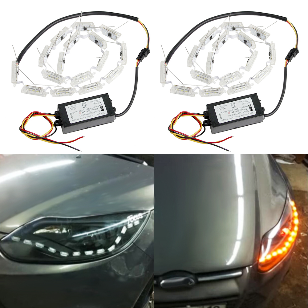 2X Flexible LED Strip Switchback Car DRL LED Daytime Running Light Turn Signal Light Flowing yellow steady Crystal led bar DRL 2pcs 12v car drl led daytime running light flexible tube strip style tear strip car led bar headlight turn signal light parking