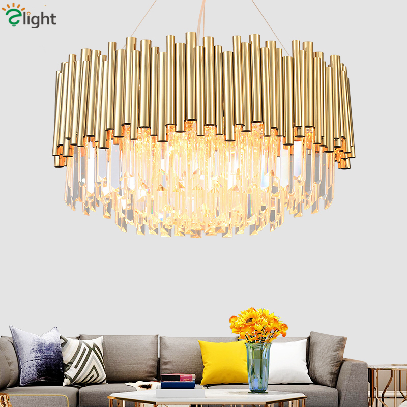 Post Modern Luxury K9 Crystal Led Pendant Lights Plate Gold Steel Lustre Luminaria Hanging Lamp Led Lighting Lamparas Fixtures
