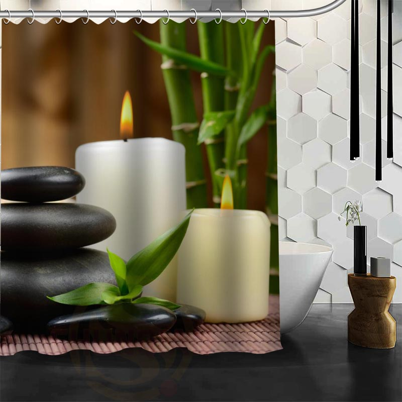 Xüsusi Zen daş Duş Perdesi Polyester Parça Daha çox ölçülü - Ev əşyaları - Fotoqrafiya 2