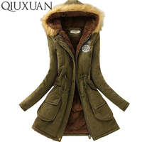 QIUXUAN Women Parka Fashion Autumn Winter Warm Jackets Women Fur Collar Coats Long Parkas Hoodies Office