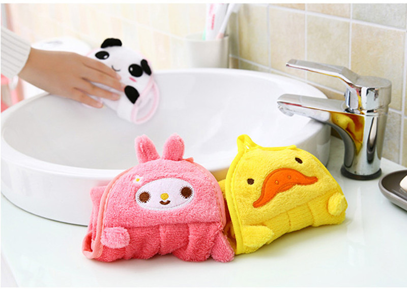37cm Kitchen Hanging Towels Cute Cartoon Animal Candy Colors Soft Velvet Towel Kitchen Used Can Be