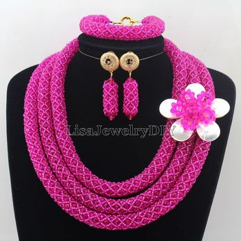 Fashionable African Beads Jewelry Sets Crystal Jewelry Set Nigerian Wedding Necklace Womens Jewellery Set Jewelry Sets HD7251