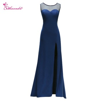 Alexzendra Navy Blue Long Chiffon Evening Dress with Side Slit Illusion Back Beaded Long Prom Dress Party Dresses