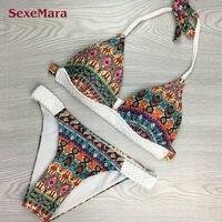 Low Waist Bikini Set Bandage Swimsuits Print Crossover Swimwear Women Bathing Suits India Print Swimming Suit