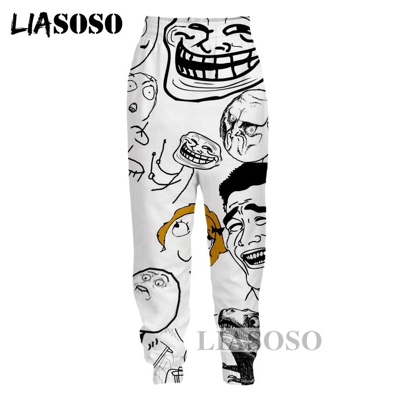 LIASOSO NEW Harajuku Cartoon Kawaii Meme Troll Face 3D Print Pants Unisex Good Quality Funny Amusing Meme Brand Pant Tops G465