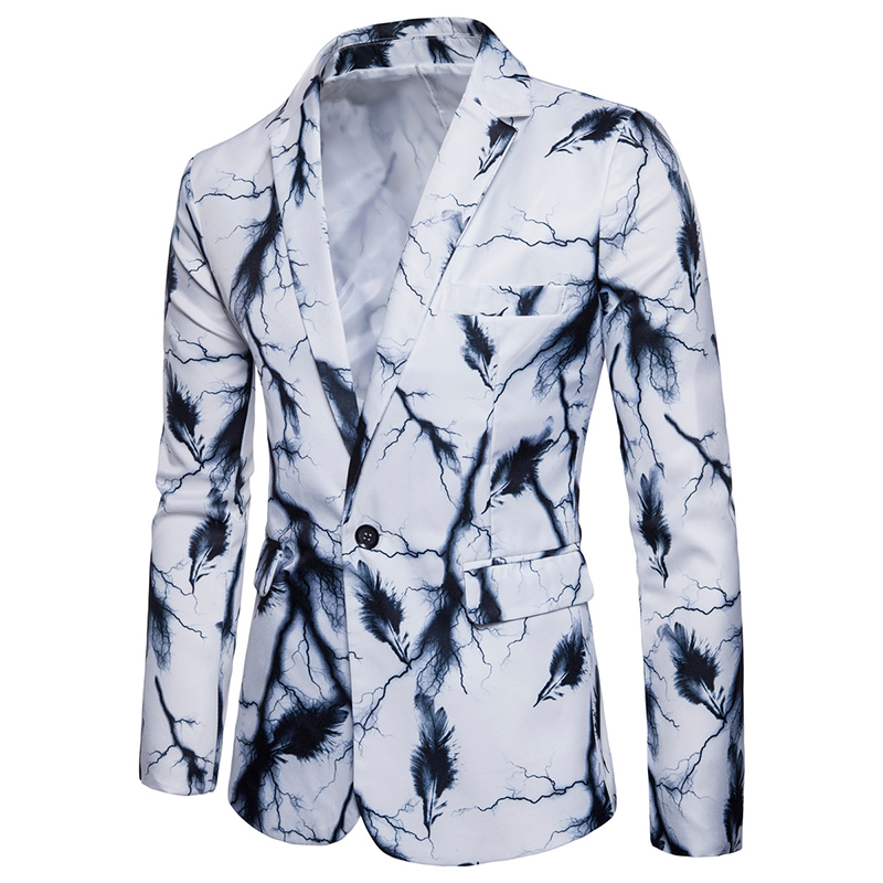 New Men's Tops Fashion Suit Single Row Of A Button Lightning And Feather Printing Behind The Middle Fork Leisure Suits S-XXXL