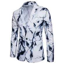 New mens tops fashion suit single row of a button lightning and Feather printing Behind the middle fork leisure suits S-XXXL