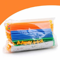 100PCS Intelligence Sticks Pipeline Building Blocks Plastic Tube Tunnel Shape Inserted Assembly Block Toy Kids Educational