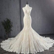 100% Hình Thật Appliques Voan Nàng Tiên Cá Váy Cưới Cao Cấp Đầm Vestido Noiva Sereia Gợi Cảm Dây De Mariee PRINCESSE De Luxe