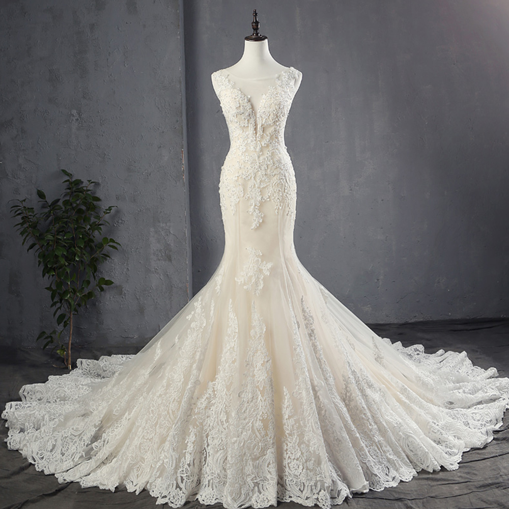 100% Real Picture Appliques Tulle Mermaid Wedding Dresses Luxury Vestido Noiva Sereia Sexy Robe De Mariee Princesse De Luxe