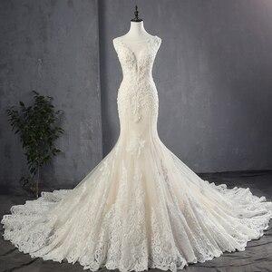 Image 1 - 100% Real Picture Appliques Tulle Mermaid Wedding Dresses Luxury Vestido Noiva Sereia Sexy Robe de Mariee Princesse de Luxe