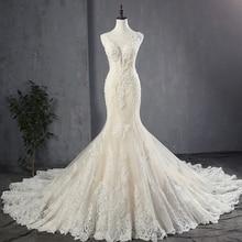 100% echt Bild Appliques Tüll Mermaid Brautkleider Luxus Vestido Noiva Sereia Sexy Robe de Mariee Princesse de Luxe